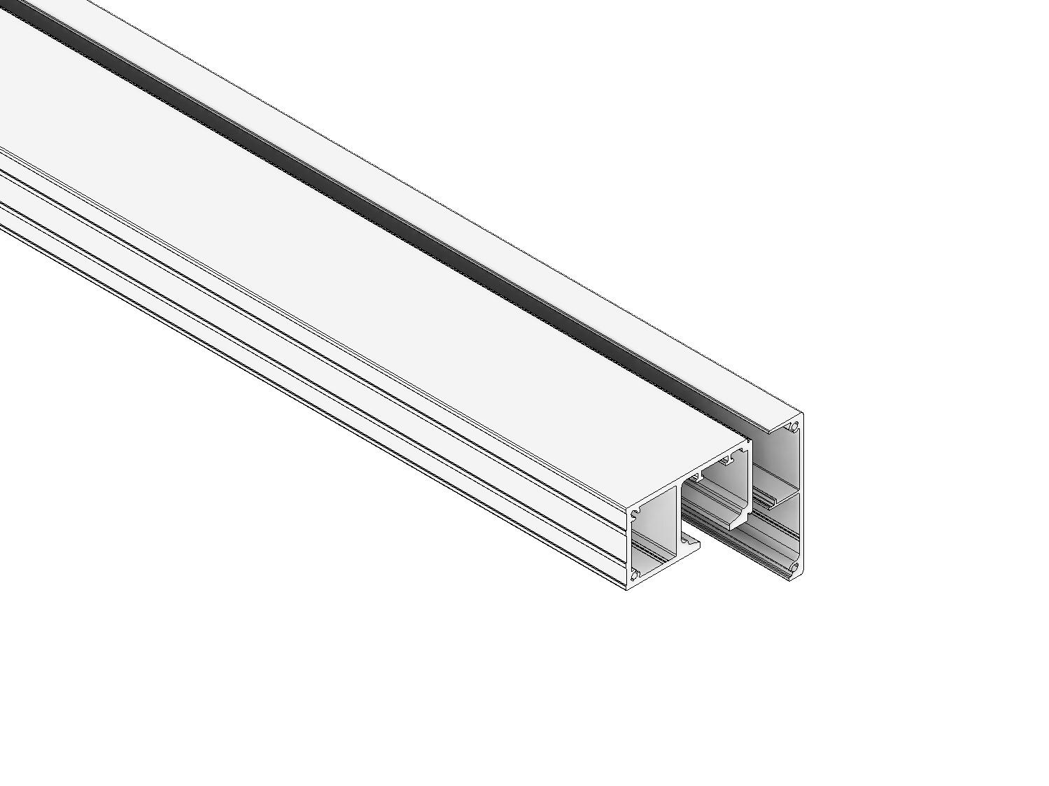 1-läufiges Schienen-Set 59 mm vdW. in Alu eloxiert (hängend)