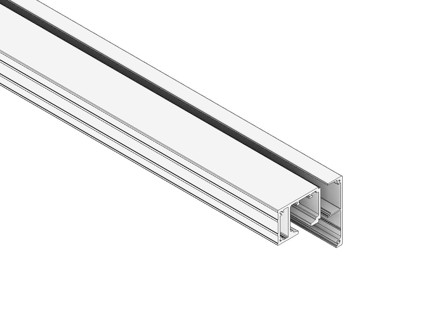 1-läufiges Schienen-Set 47 mm vdW. in Alu eloxiert (hängend)